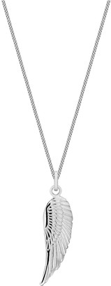 The Love Silver Collection Sterling Silver Simple Angel Wing Pendant Necklace