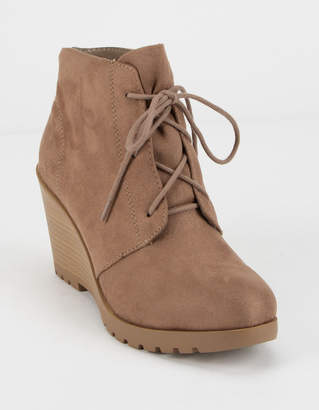 Soda Sunglasses Wedge Faux Suede Lace-Up Womens Booties