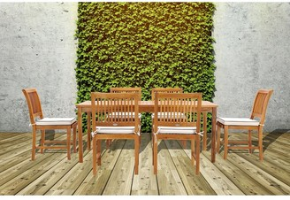"Chic Teak 7 Piece Teak Wood Bermuda 71"" Rectangular Large Bistro Dining Set including 6 Side Chairs"