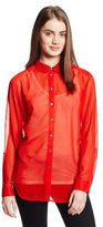 Vince Camuto Two by Women's Long Sleeve Two Tone Roll Tab Shirt