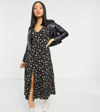 ASOS DESIGN Petite maxi tea dress in black and orange floral print