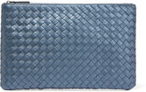 Bottega Veneta Metallic Intrecciato Leather Pouch - Storm blue