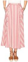 BB Dakota Norman Varigated Stripe Button Front Skirt Women's Skirt
