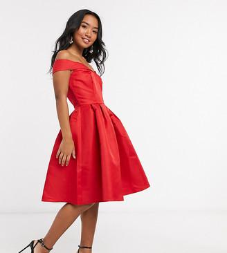 Chi Chi London bardot midi dress in red