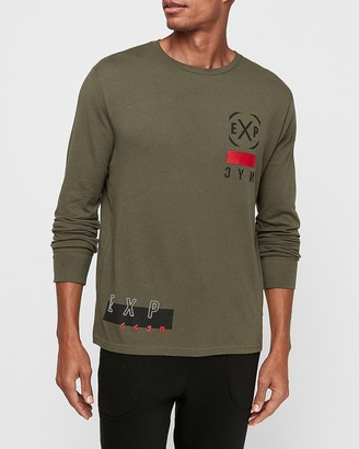 Express Green Two-Sided Graphic Long Sleeve T-Shirt