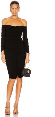 Norma Kamali Off Shoulder Slinky Dress in Black | FWRD