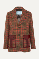 Prada Leather-trimmed Checked Wool-blend Tweed Blazer - Orange