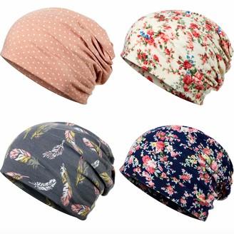 Satinior 4 Pieces Printed Turban Headband Cotton Soft Sleep Beanie Slouchy Bonnet Hat Turban Headwrap Beanie for Women