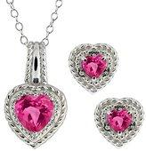 Gem Stone King 4.07 Ct Heart Shape Pink Mystic Topaz 14k White Gold Pendant Earrings Set