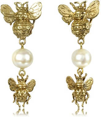 Bees and Pearls Bronze Earrings