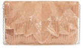 La Regale Beaded Petal Flap Clutch - Metallic