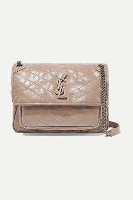 Saint Laurent Niki Medium Quilted Crinkled Glossed-leather Shoulder Bag - Beige