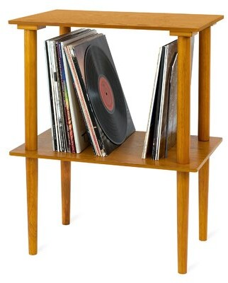 Thumbnail for your product : Winston Porter Wooden Record Multimedia Shelf Color: Oak