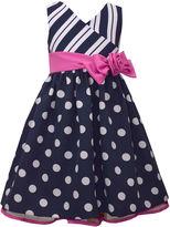 Bonnie Jean Navy Floral Stripe Dress - Toddler