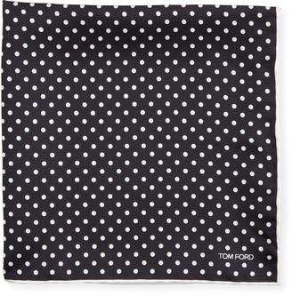 Tom Ford Men's Dotted Silk Pocket Square, Black/White