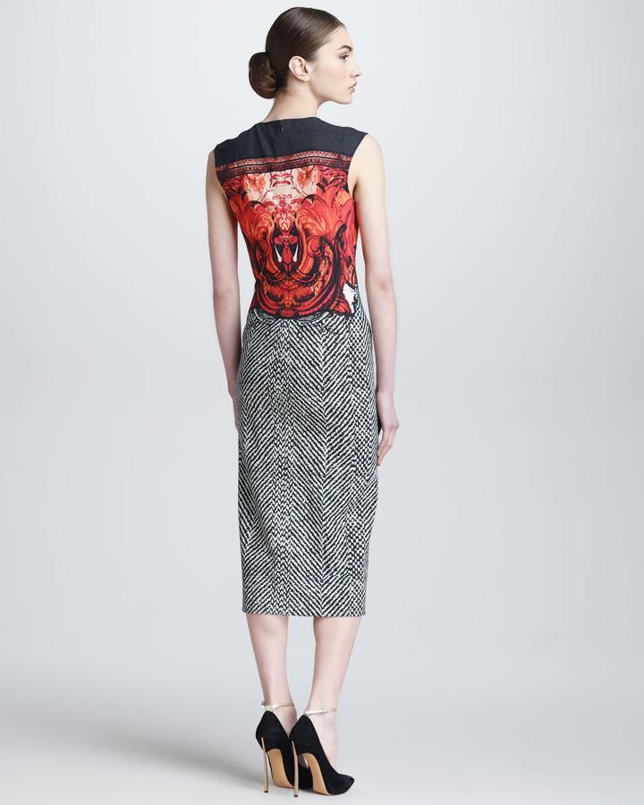 Roberto Cavalli Tilda-Print Below-the-Knee Sheath Dress