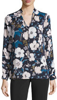 Laundry by Shelli Segal Tie-Neck Floral-Print Blouse, Dark Navy