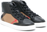 Burberry Mini Haypack hi-top sneakers - kids - Cotton/Leather/rubber - 29