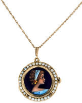 14K Enamel & Pearl Locket Necklace
