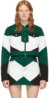 Kirin Green and White Denim Cropped Worker Jacket