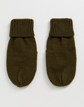 French Connection speckle knit mitten gloves in khaki co-ord