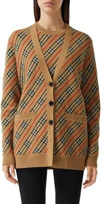 Burberry Coralie Icon Stripe Merino Wool Blend Cardigan