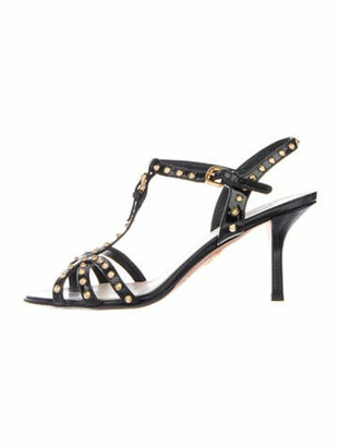 Prada Spike Accents Patent Leather T-Strap Sandals Black