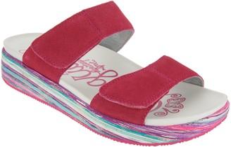 Alegria Suede Adjustable Slide Wedge Sandals - Mixie