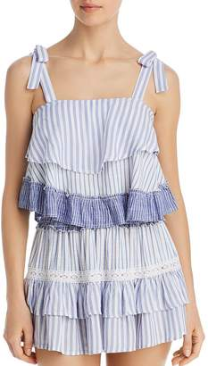 Surf.Gypsy Striped Combo Ruffle Tank Top Swim Cover-Up