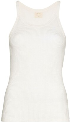 ST. AGNI Scoop-Neck Linen Tank Top