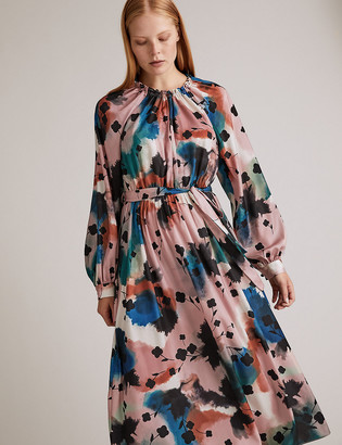 Marks and Spencer Abstract Floral Midaxi Waisted Dress