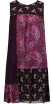 Anna Sui Broderie Anglaise-Paneled Crinkled Silk-Satin Mini Dress