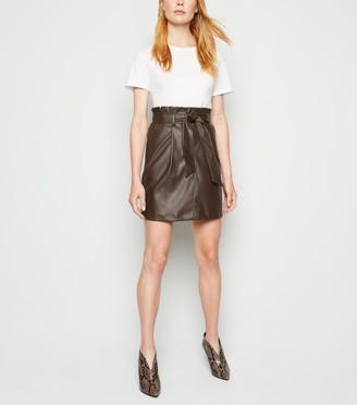New Look Coated Leather-Look High Waist Skirt