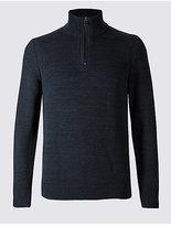 M&S Collection Cotton Rich Textured Half Zipped Jumper