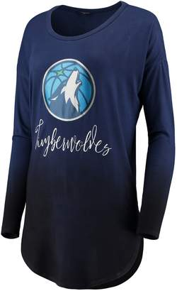 Unbranded Women's Navy Minnesota Timberwolves Own It Ombre Long Sleeve Tunic T-Shirt