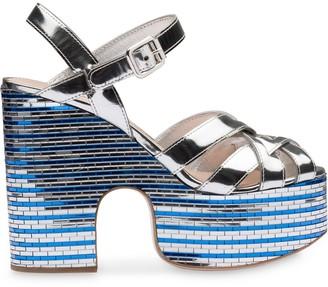 Miu Miu Metallic Platform Sandals
