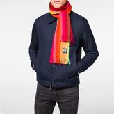 Paul Smith Men's Brown To Orange Gradient Stripe Neon Edge Wool Scarf