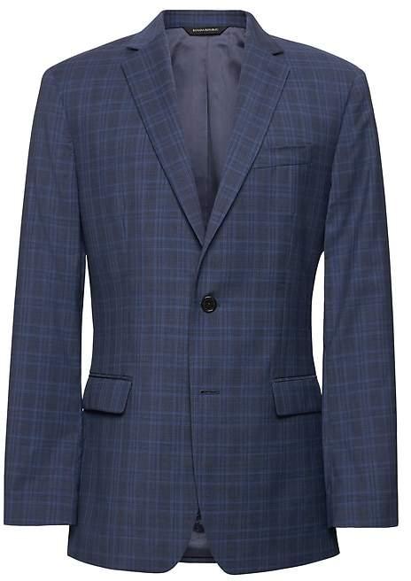 Banana Republic Standard Navy Plaid Italian Wool Suit Jacket