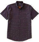 Murano Short-Sleeve Crab Jacquard Button Down Collar Sportshirt