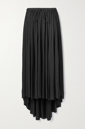 Proenza Schouler White Label Asymmetric Gathered Satin-jersey Midi Skirt - Black