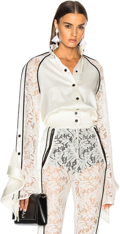 David Koma Lace Sleeve Ruffle Jacket