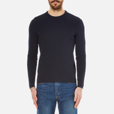 Folk Waffle Crew Neck Knitted Jumper Navy