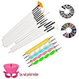 WOVTE Nail Art and Gel Acrylic Drawing Makeup Brush Set with Dotting Tools, Pack of 20