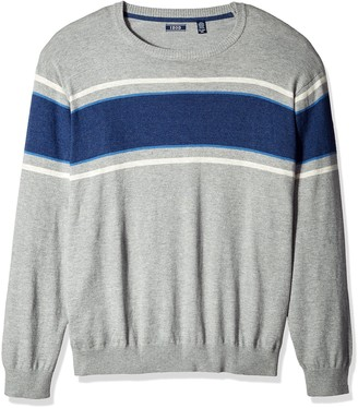 Izod Men's Big Durham Textured Stripe 12 Gauge Crewneck Sweater