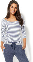 New York & Co. Ribbed-Knit Dolman Top - Stripe
