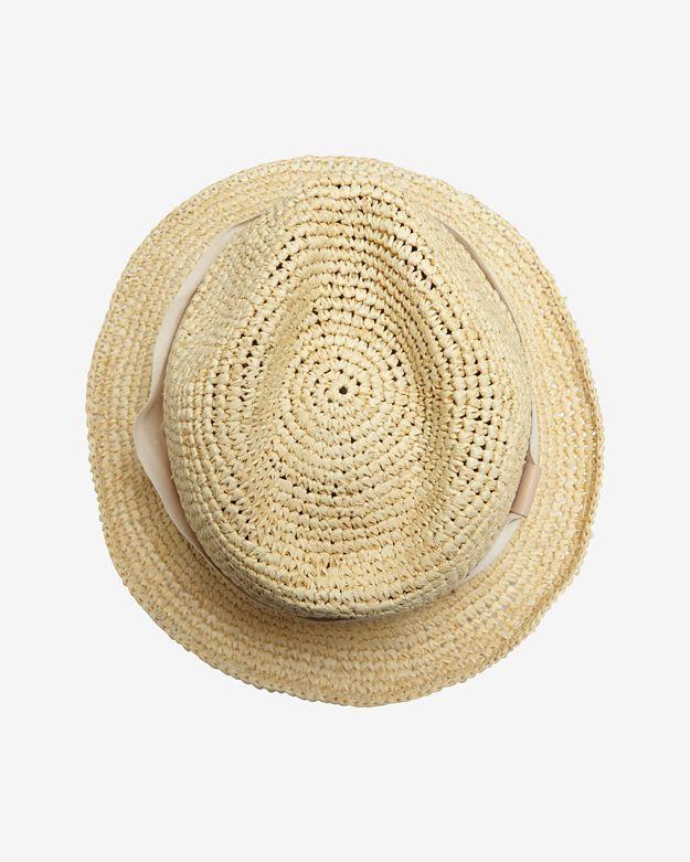 Hat Attack Ivory Ribbon Trim Raffia Fedora