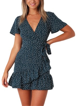 DEELIN Fashion Women Floral Printed Short Sleeve Butterfly Sleeve V-Neck Sexy Summer Dress Beach Mini Ruffled SkirtBlack L