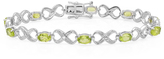 Ice 5 1/10 CT TW Sterling Silver Peridot and Round Cut White Diamond Tennis Bracelet
