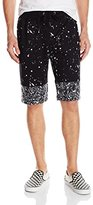 Southpole Men's Shorts in Thin French Terry Cut and Sewn with Splash Print Details