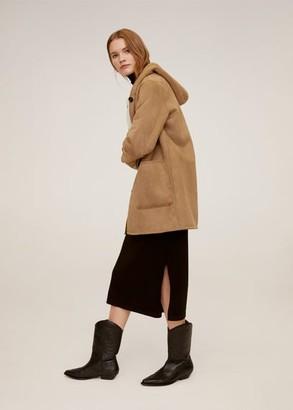 MANGO Faux shearling lining coat brown - S - Women